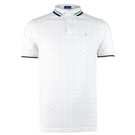 White Turquoise Polo Shirt Alpha 2